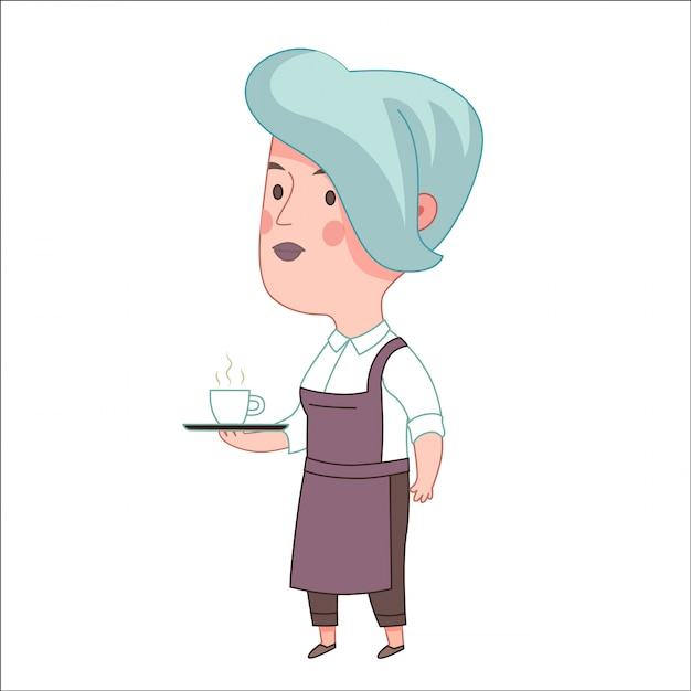 Waitress Premium Vector