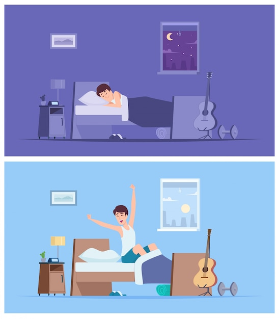 Wake up man. joyful happy morning sleeping male person stretching in bad sitting on mattress  peaceful characters Premium Vector