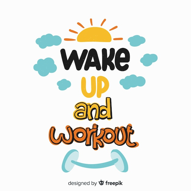 Wake up and workout lettering Free Vector