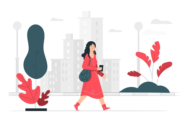 Walk in the city illustration concept Free Vector