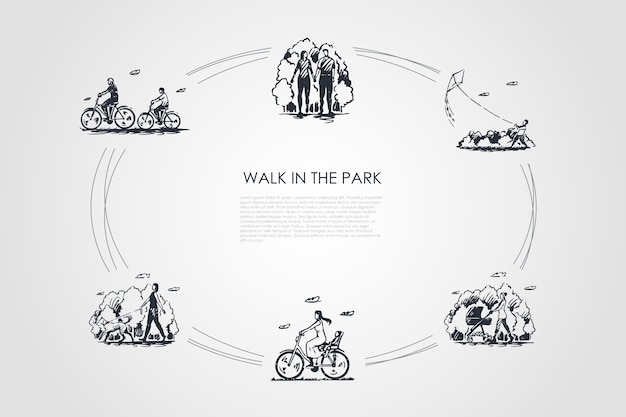 Walk in the park  concept set illustration Premium Vector