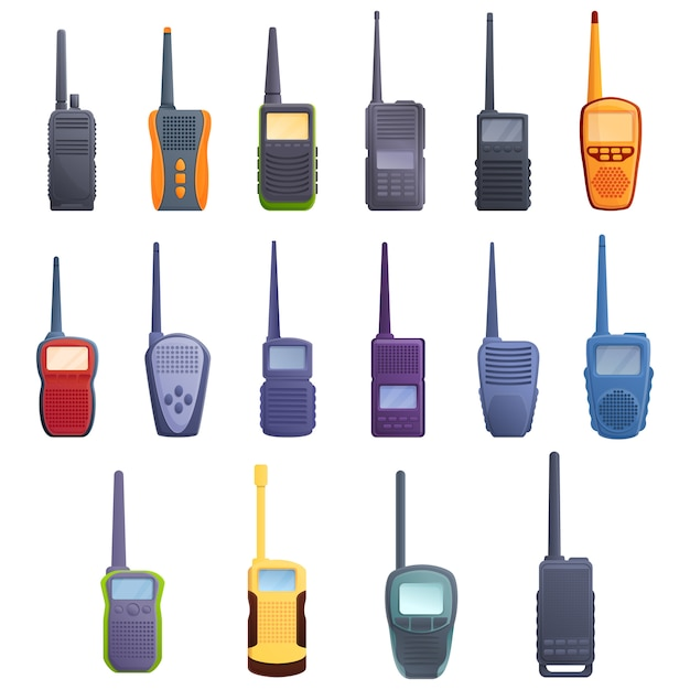 Walkie talkie set, cartoon style Premium Vector