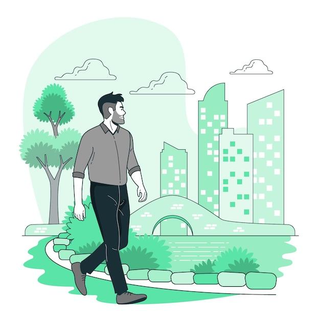 Walking aroundconcept illustration Free Vector