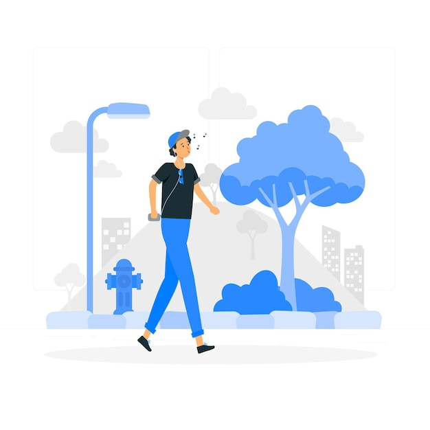 Walking around concept illustration Free Vector