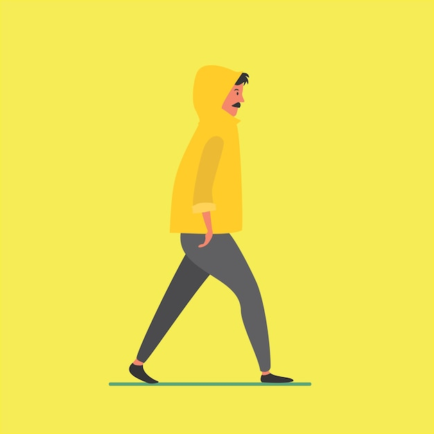 Walking guy Premium Vector