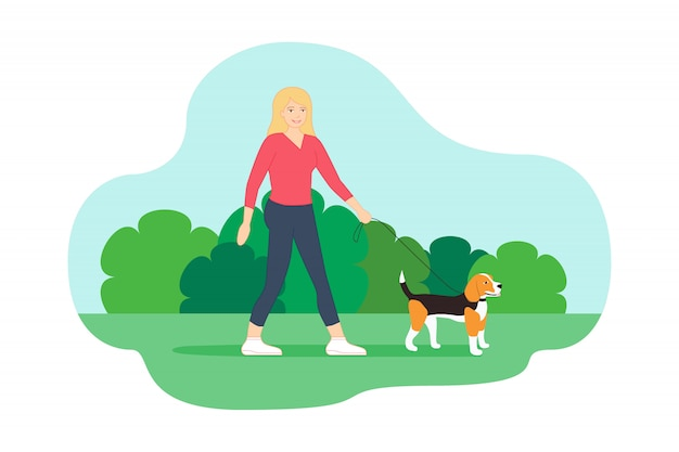 Walking in the park with her little beagle dog Premium Vector