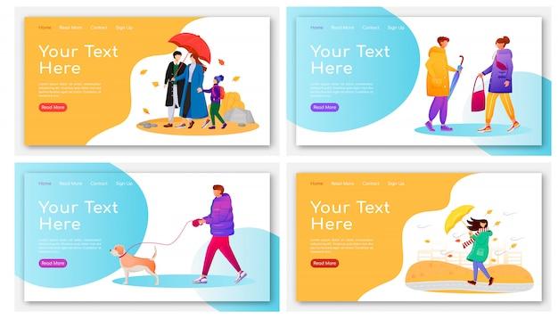 歩く人々ランディングページカラーテンプレートセット。傘を持つ人間のホームページのレイアウト。漫画のキャラクターと雨の日1ページのウェブサイトインターフェイス。雨天ウェブ、ウェブページ Premiumベクター