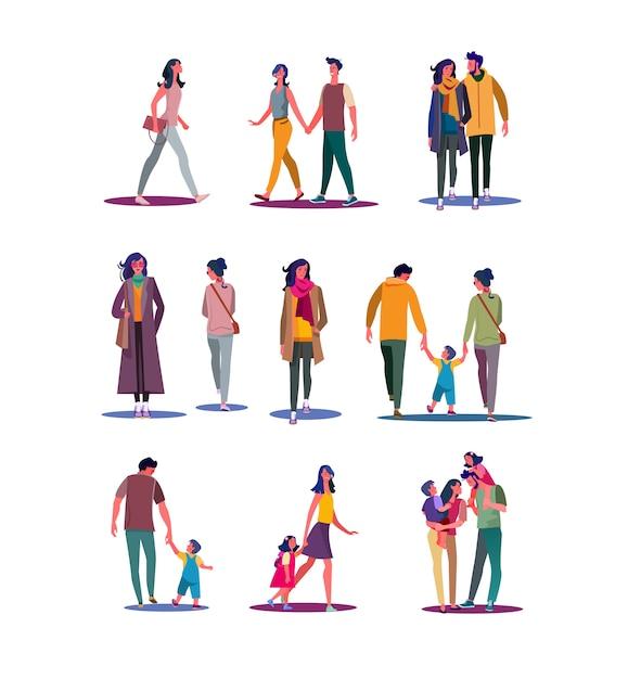 Set di persone che camminano Vettore gratuito