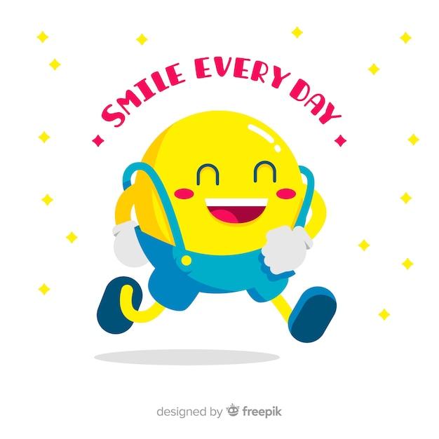 Walking smiley emoji background Free Vector