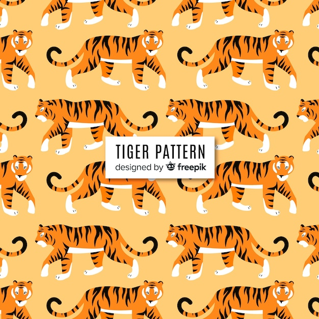 Walking tiger pattern Free Vector