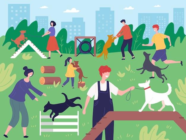 公園で犬と一緒に歩く。家畜犬子犬ベクトルと屋外で実行して遊んでいる人々。イラスト公園の犬、電車、散歩 Premiumベクター