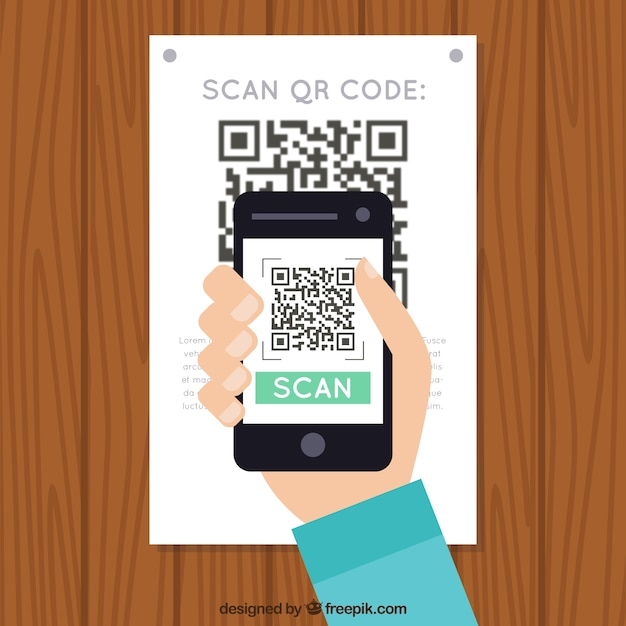 Wall background scanning qr code Free Vector