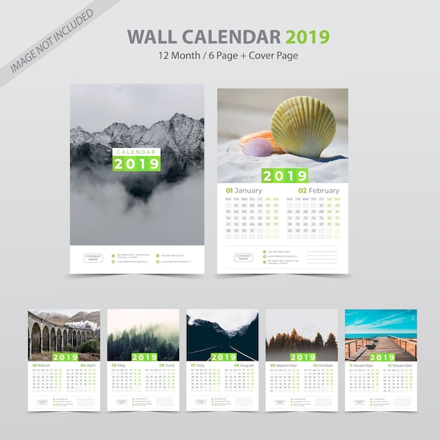 Kalender dinding 2019 Vektor Premium
