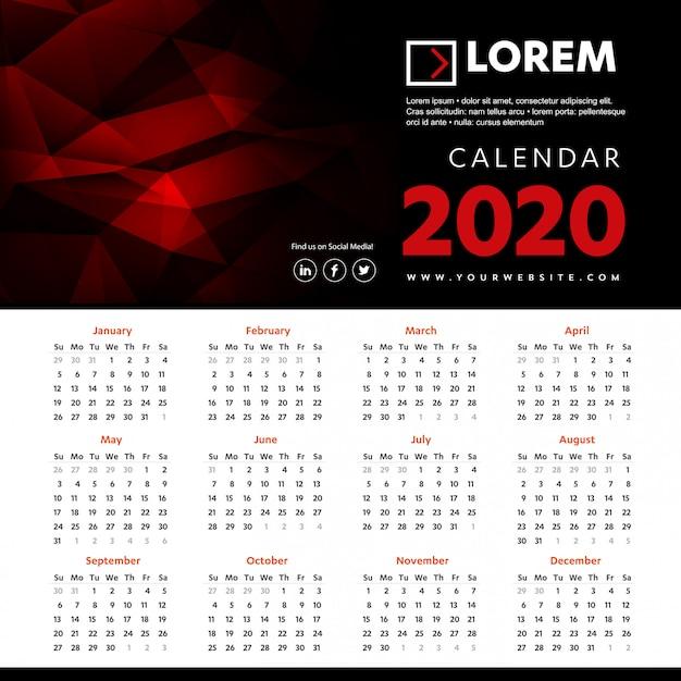 Wall calendar 2020 colorful template Vector | Premium Download