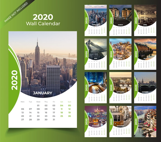 Wall calendar for 2020 template Premium Vector