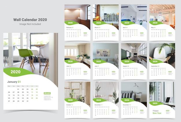 tanggalan dinding 2020 templat Vektor Premium