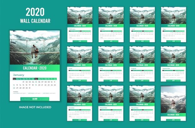 36 Kalender Dinding 2021 Hijau Desain Moderen PSD dan Vector