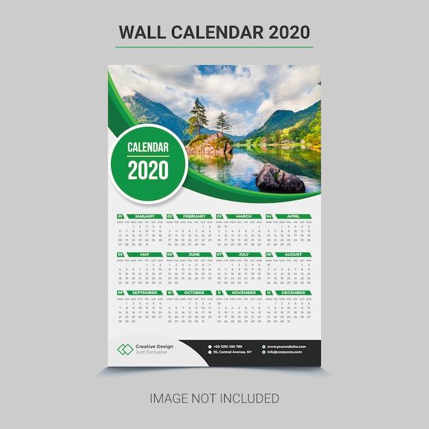 Tanggalan dinding 2020 Vektor Premium