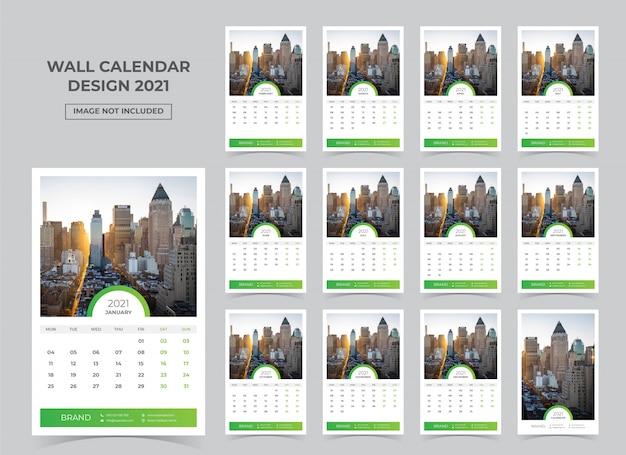 Kalender dinding untuk tahun 2021. minggu dimulai pada Senin Vektor Premium