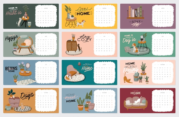 Cute Calendar 2021 Premium Vector | Wall calendar. 2021 yearly planner with all
