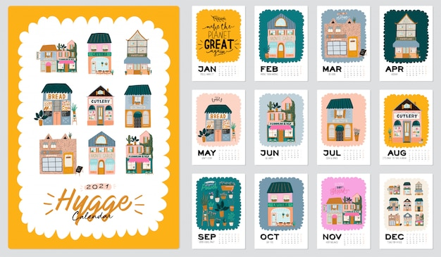 Premium Vector | Wall calendar. 2021 yearly planner with ...
