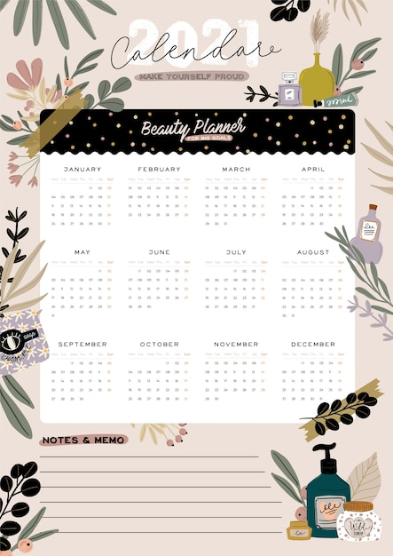 Wall calendar. 2021 yearly planner with all months. good school organizer and schedule. cute floral and cosmetic background. motivational quote lettering. Premium Vector
