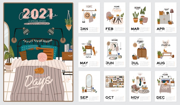 Wall calendar. 2021 yearly planner with all months. good school organizer and schedule. cute home interior background. Premium Vector