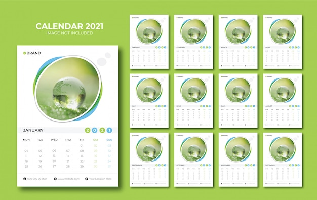 Kalender dinding 2021 Vektor Premium