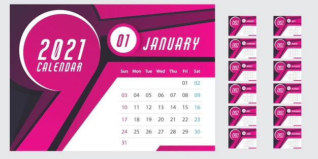 Wall calendar template for 2021 year Free Vector