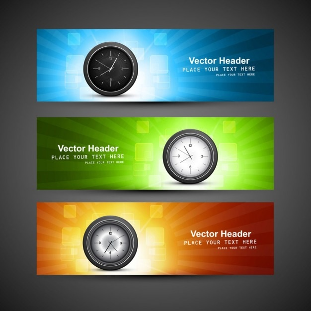 Wall clock headers Free Vector