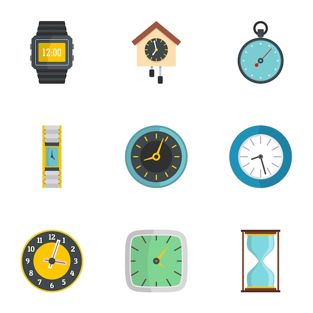 Wall clock icons set. flat set of 9 wall clock icons Premium Vector