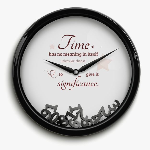 Wall clock in original design with time stopped isolated on white background Free Vector