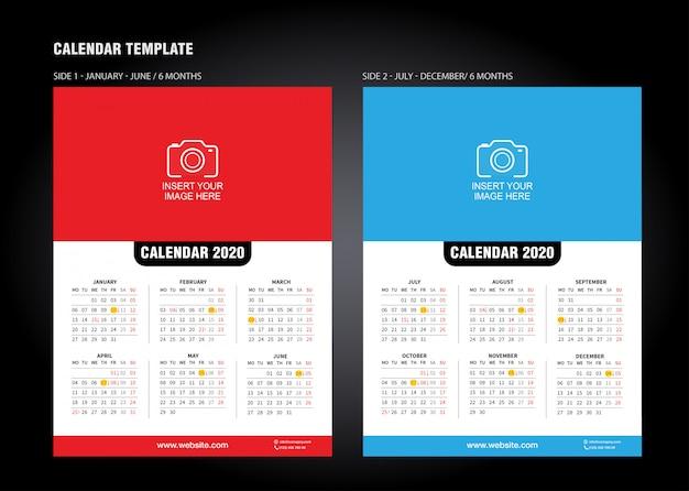 Wall Desk Calendar Template For 2020 Year. Vector Design Print