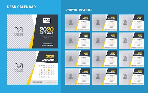 Wall desk calendar template for 2020 year. vector design print template Premium Vector