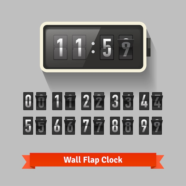 Wall flap clock, number counter template Free Vector