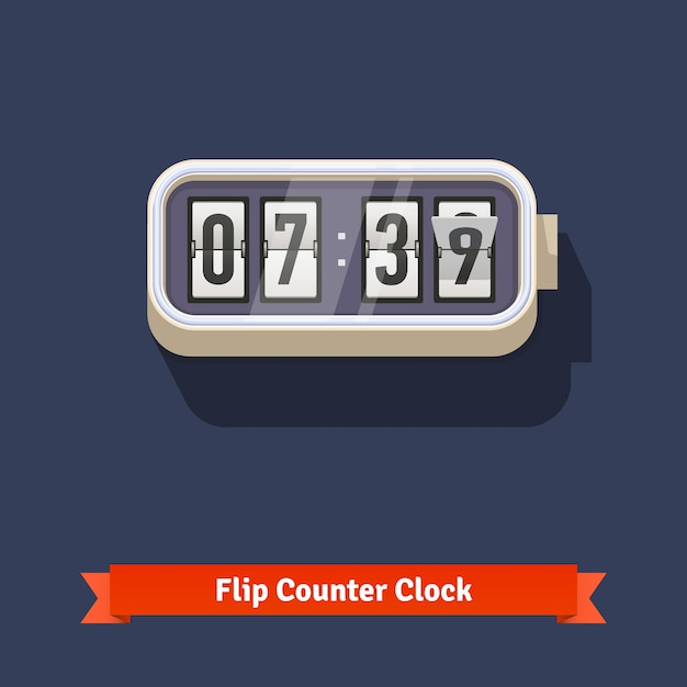 Wall flipping clock and number counter template Free Vector