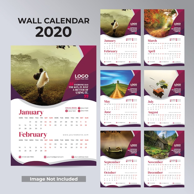 Wall monthly calendar for 2020 year design ready to print Premium Vector