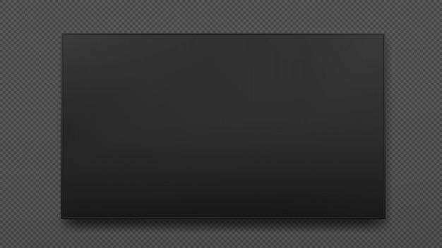 Настенный широкий плазменный черный светодиодный телевизор изолированы. телевизор цифровой, современный пустой жк-экран. Premium векторы