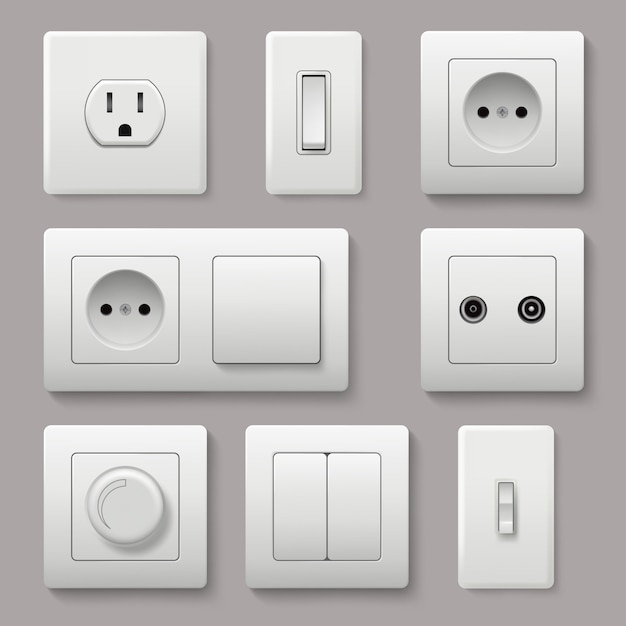 Wall switch. power electrical socket electricity turn of and on plug realistic pictures Premium Vector