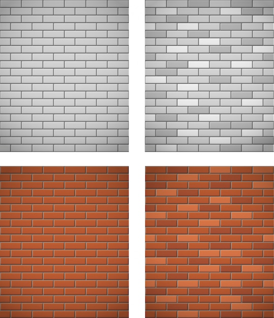 Wall of white and red brick seamless background Premium Vector