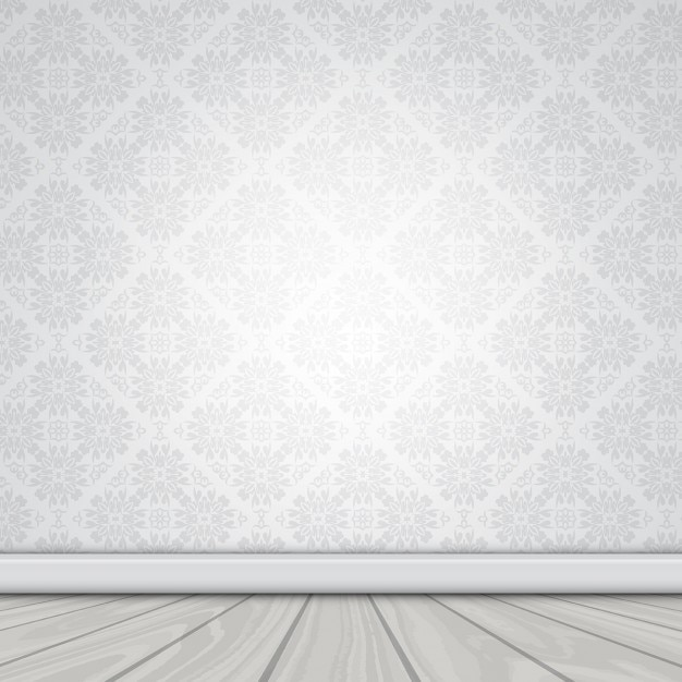 Wall with damask wallpaper and wooden floor Free Vector