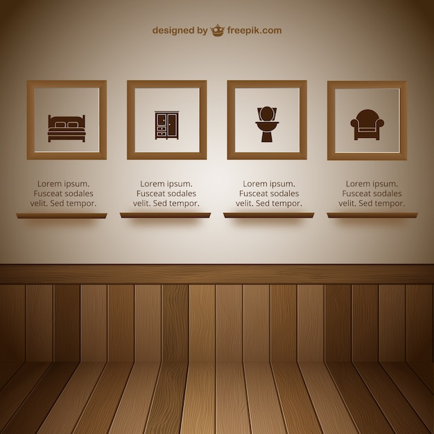 Wall with frames exhibit room vector free download for Photoshop room templates