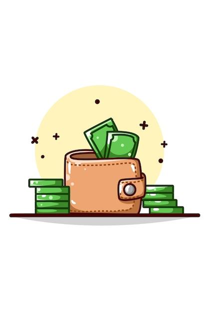 Кошелек и деньги иллюстрации рука рисунок Premium векторы
