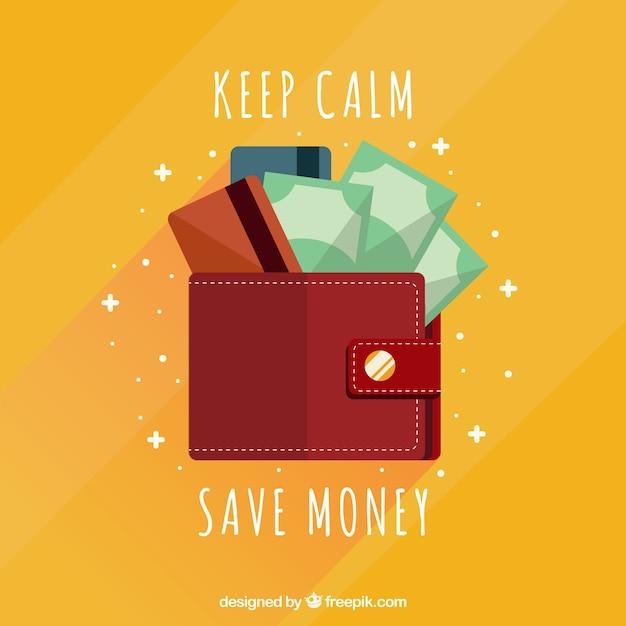 Wallet background in flat design Free Vector