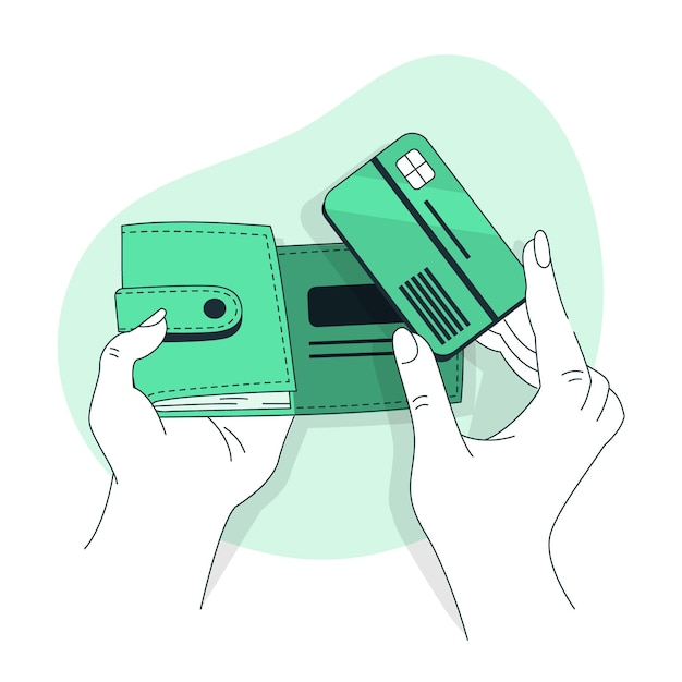 Wallet concept illustration Free Vector