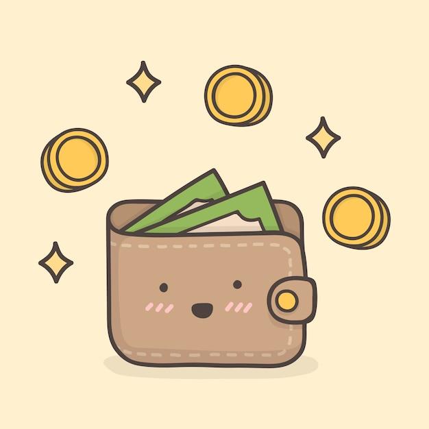 Wallet. cute doodle illustration. Premium Vector