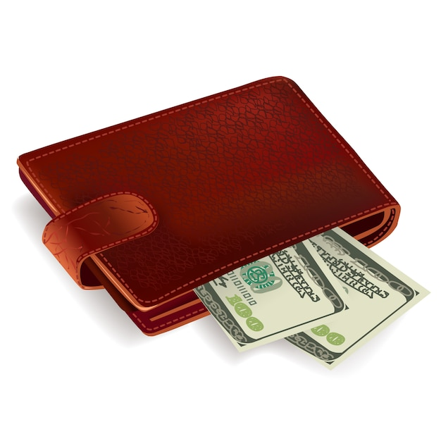 Wallet filled with money Free Vector