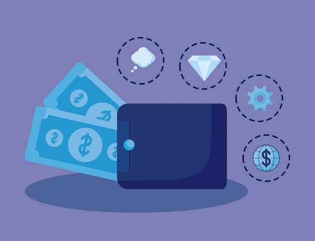 Wallet money with set icons economy finance Premium Vector