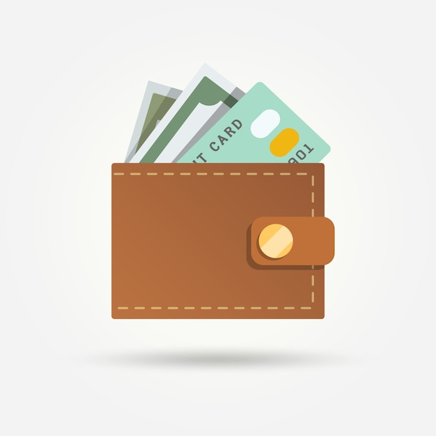 Wallet with bill and credit card in flat design Free Vector