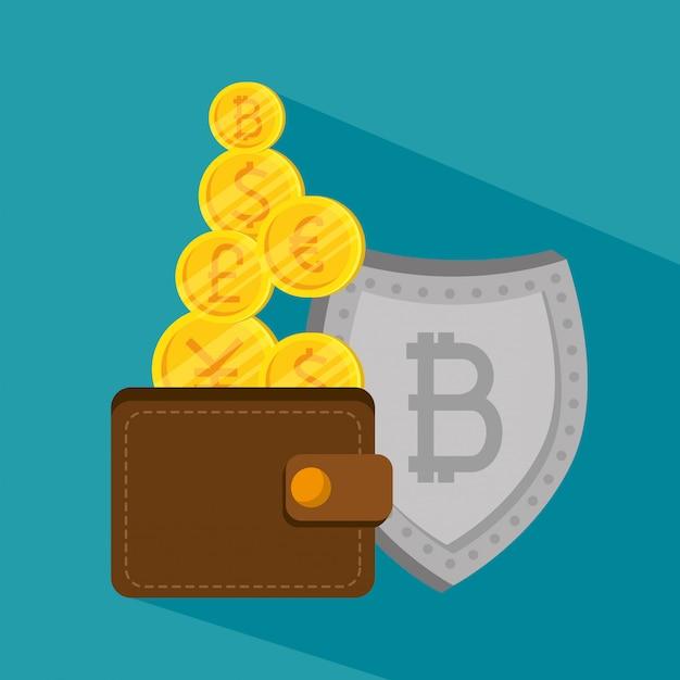 Portafoglio con valuta bitcoin e scudo economico Vettore gratuito